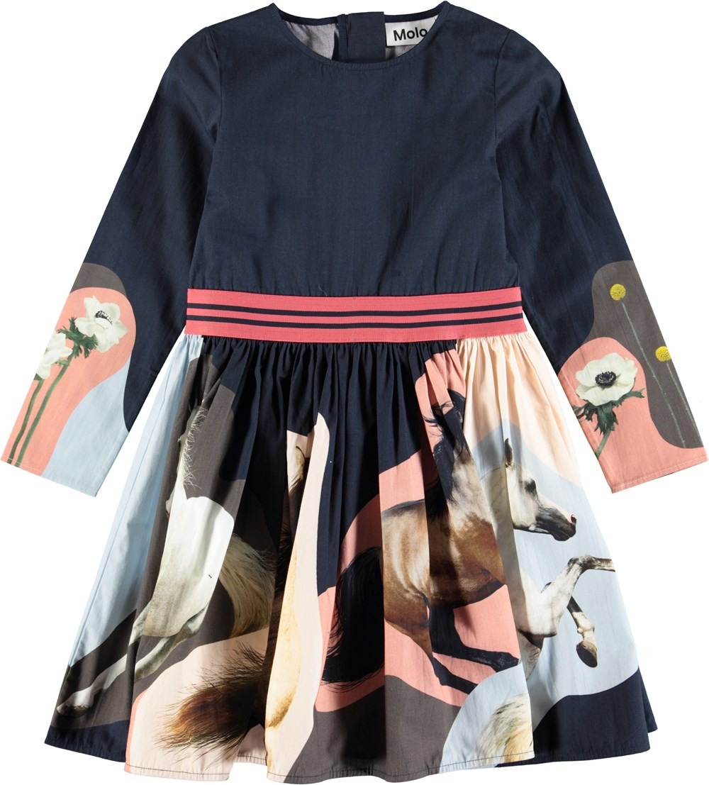 Christin - Northen Horse Spirit - Sweet, dark blue poplin dress with digital horse print