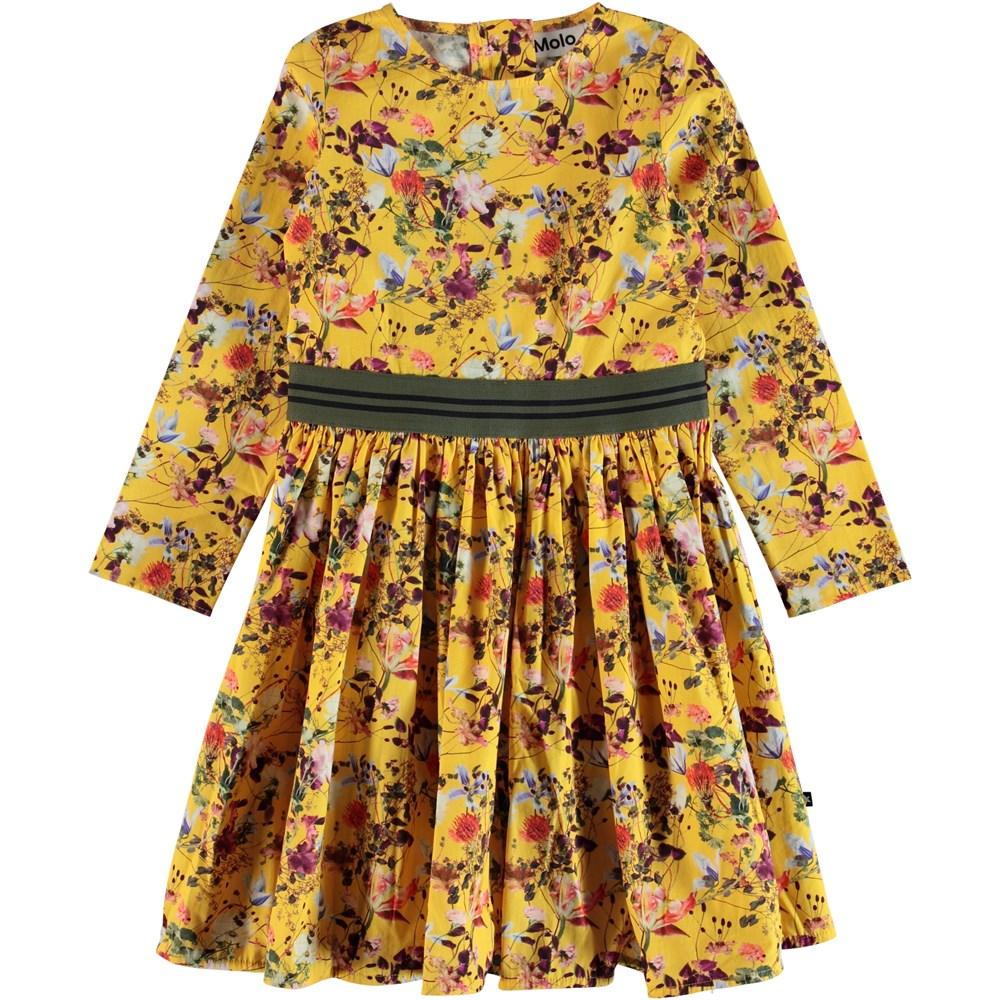 Christin - Sunrise Flowers - Flower poplin dress with striped ribbon.