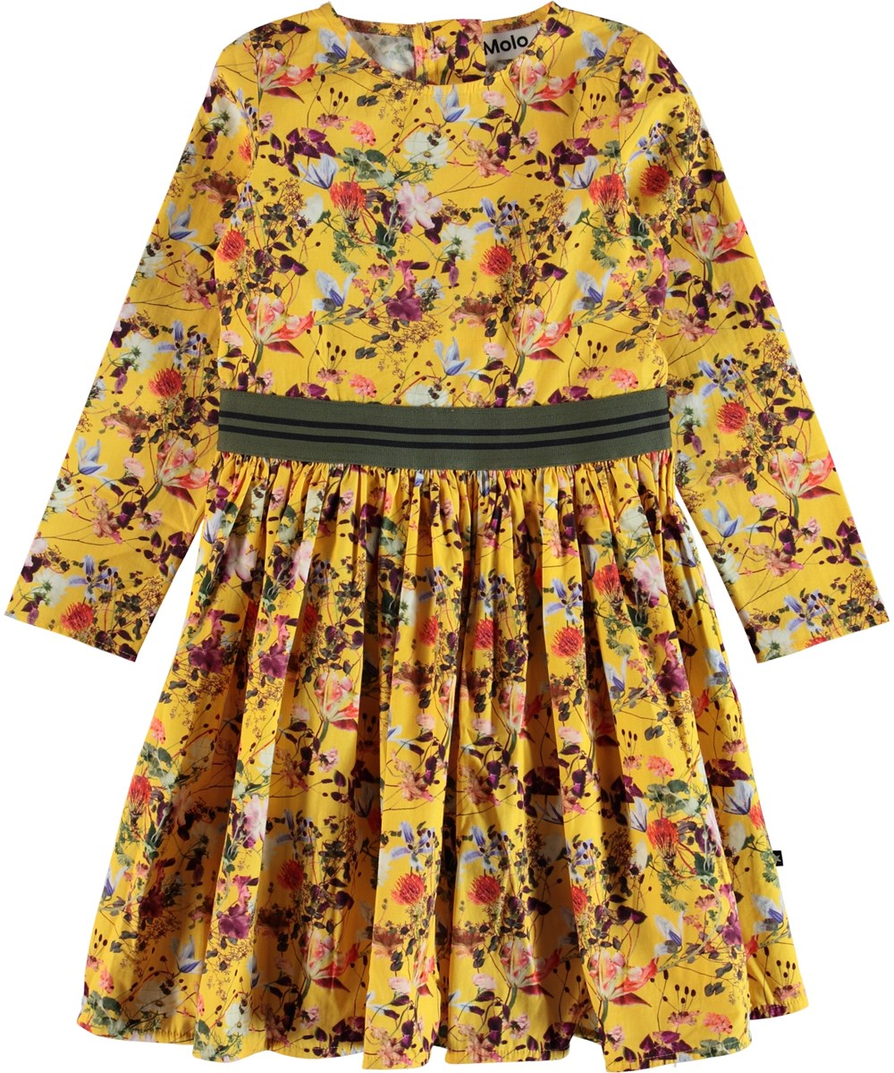 Christin - Sunrise Flowers - Flower poplin dress with striped ribbon.