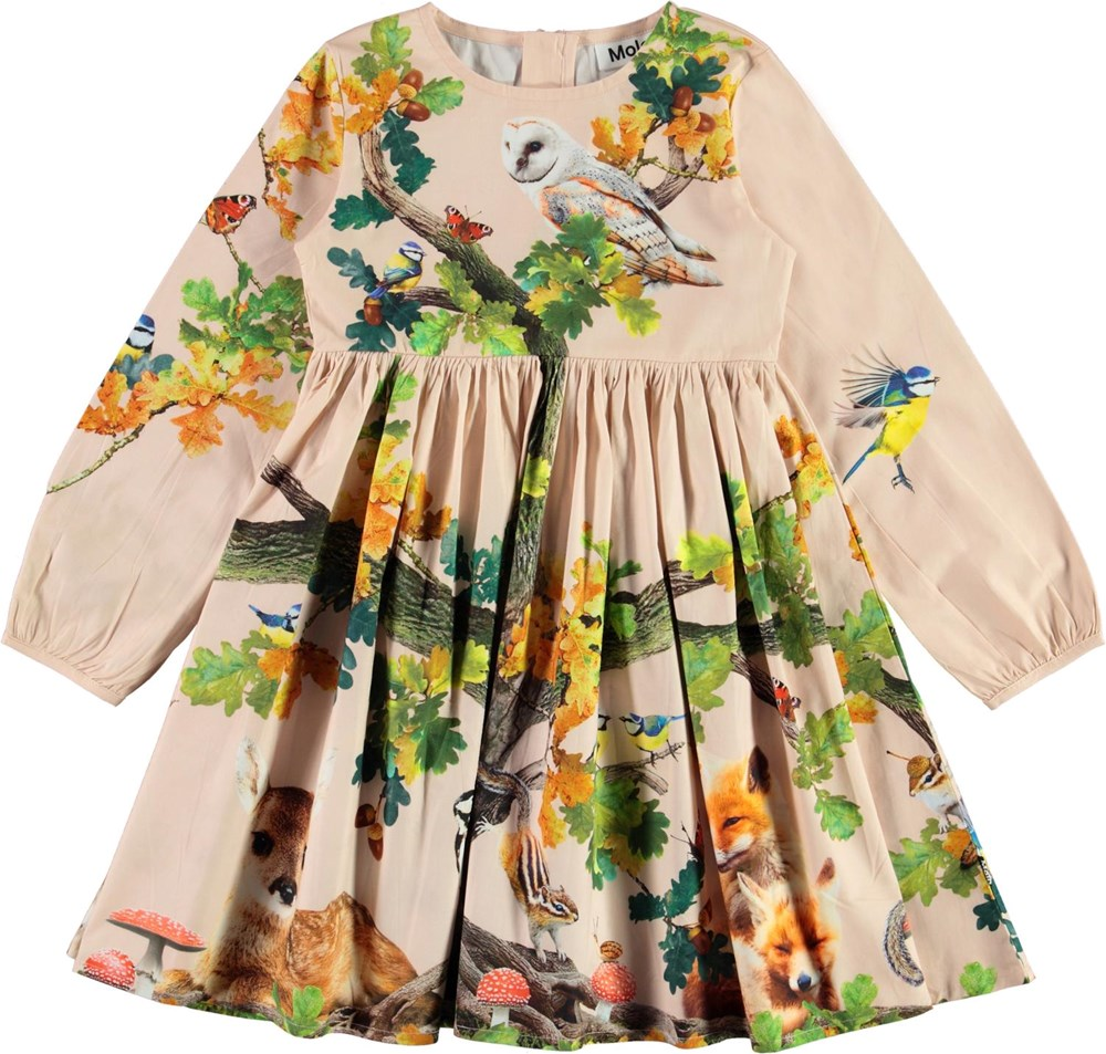 Christina - From Acorn - Rose organic dress with forest and animal print