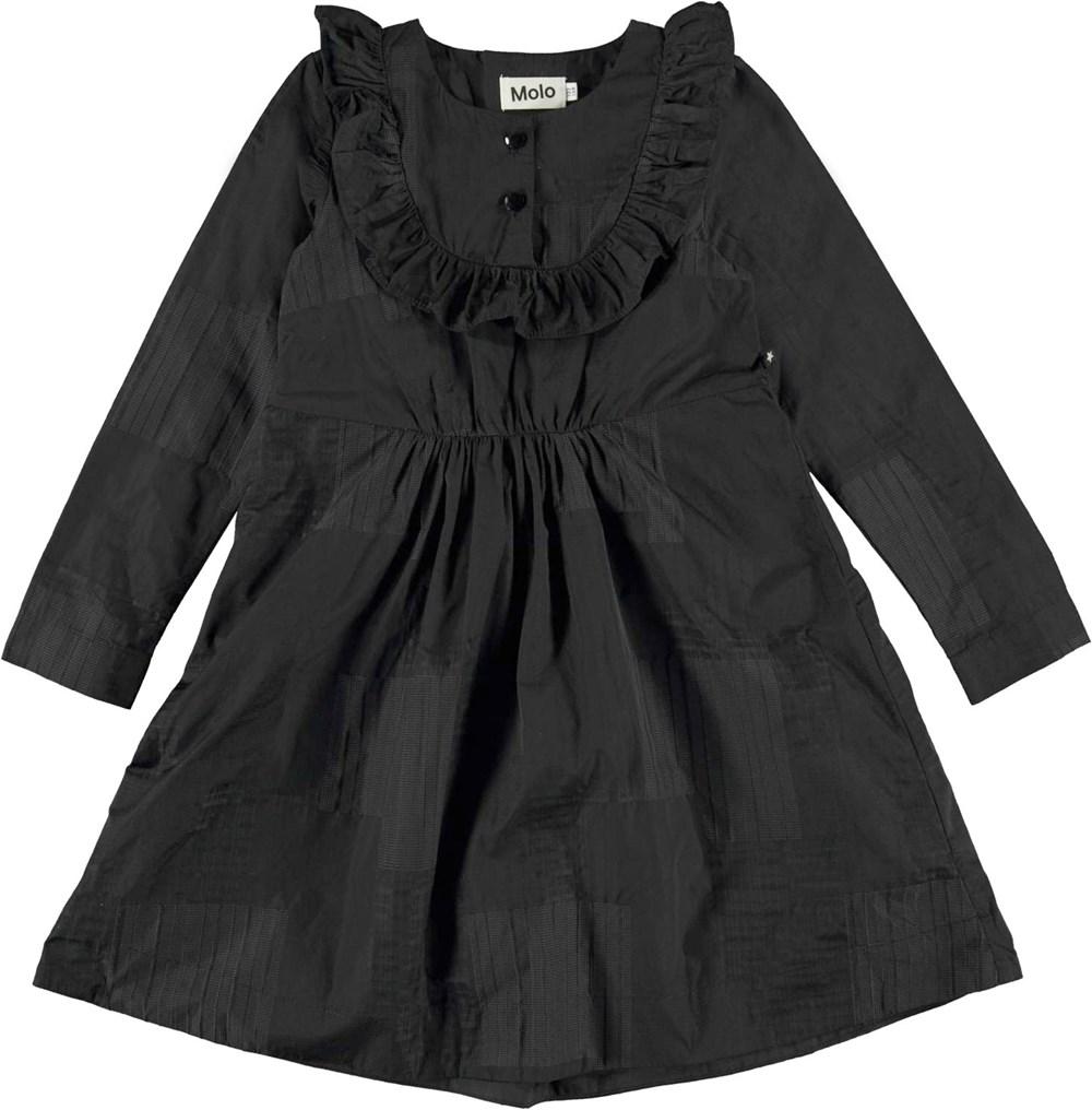 Christy - Black - Black taffeta dress in plaid with ruffle