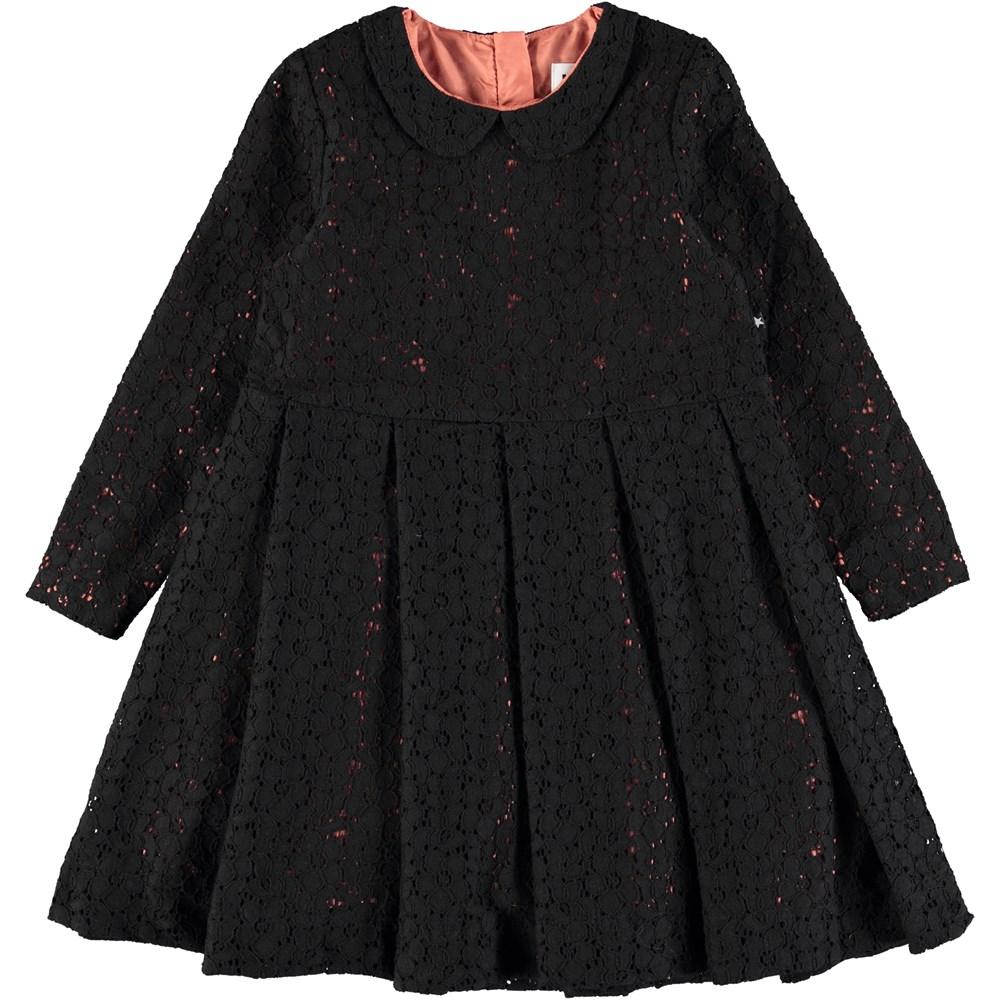 Cici - Black - Long sleeve black lace dress