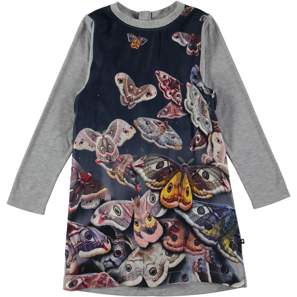 Cilja - Midnight Moth - long sleeve grey dress with butterflies