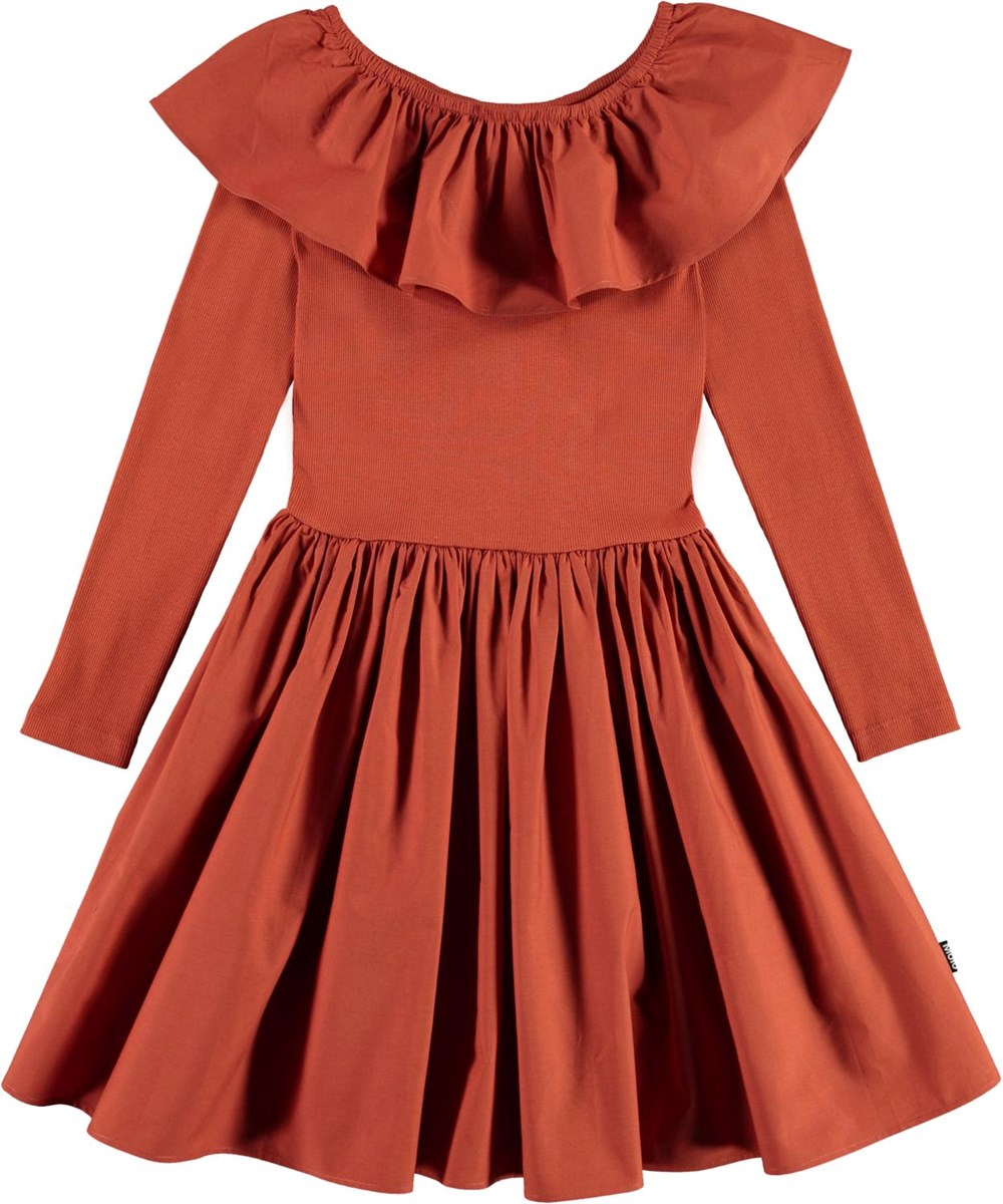 Cille - Burnt Brick - Brown organic dress with ruffle collar