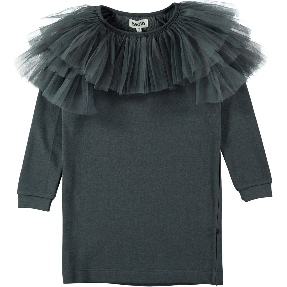 Ciss - Dove Grey - Dark grey sweatshirt dress with tulle collar