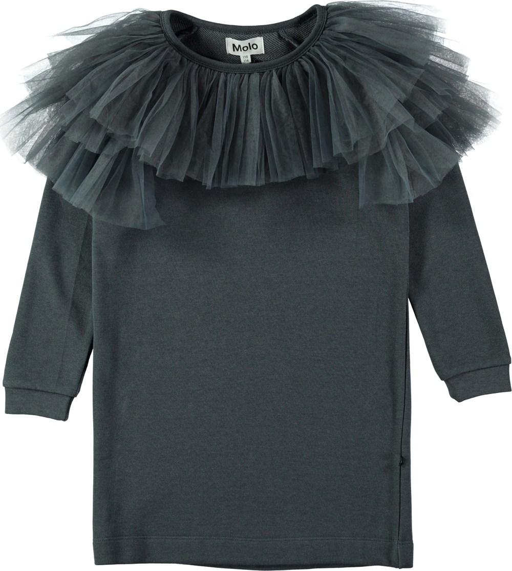 Ciss - Dove Grey - Dark grey sweatshirt dress with tulle collar