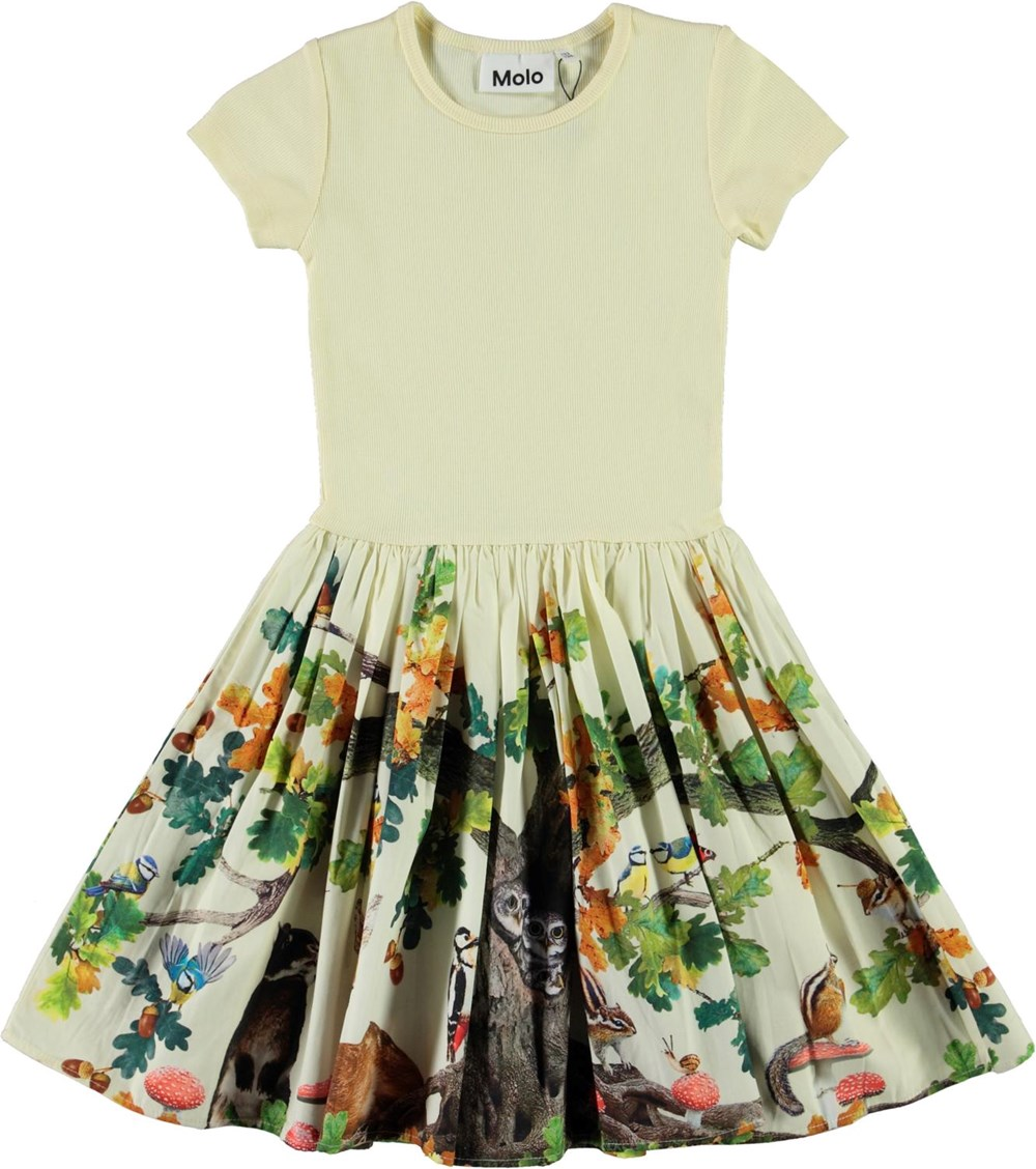 Cissa - From Acorn_Light - Light yellow organic dress with animals and forest print