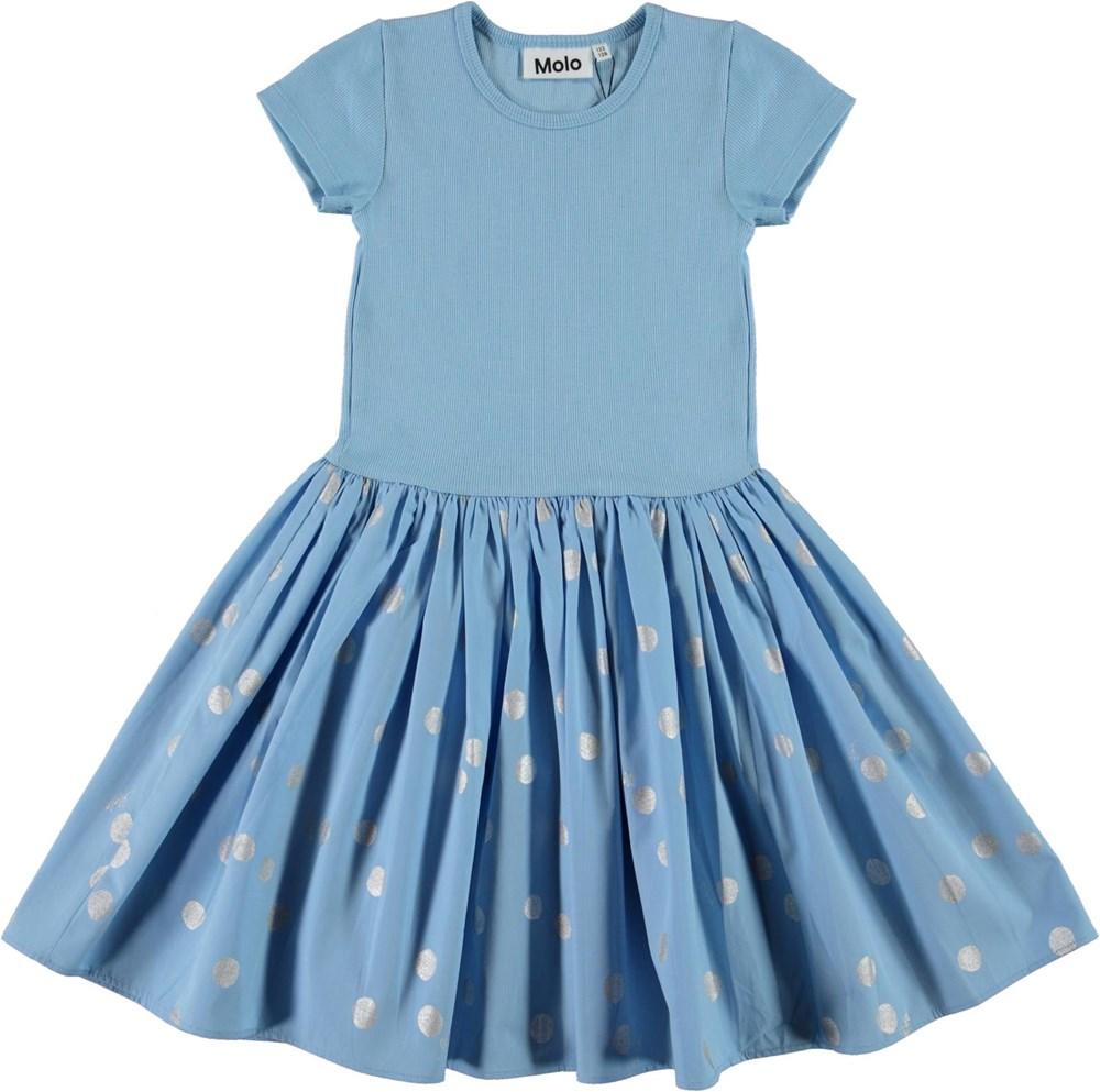Cissa - Silver Dots - Light blue organic dress with silver dots
