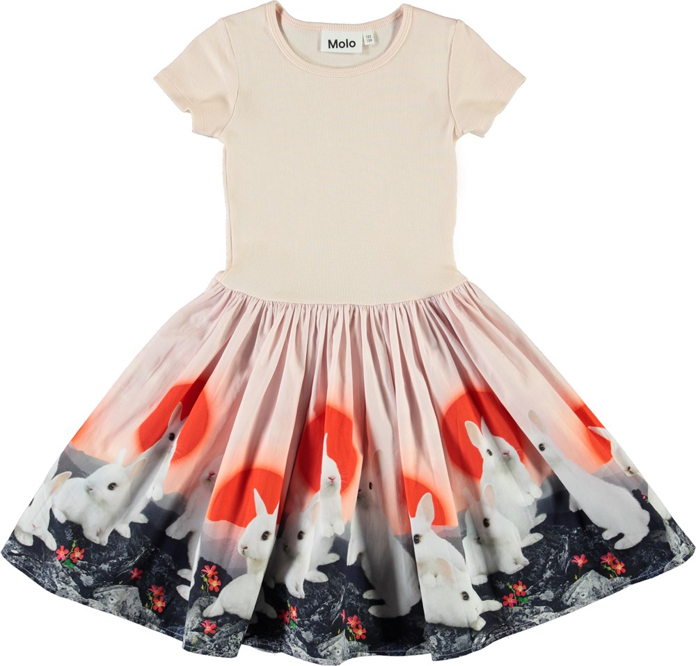 Cissa - Sunset Bunnies - Rose organic dress with bunnies