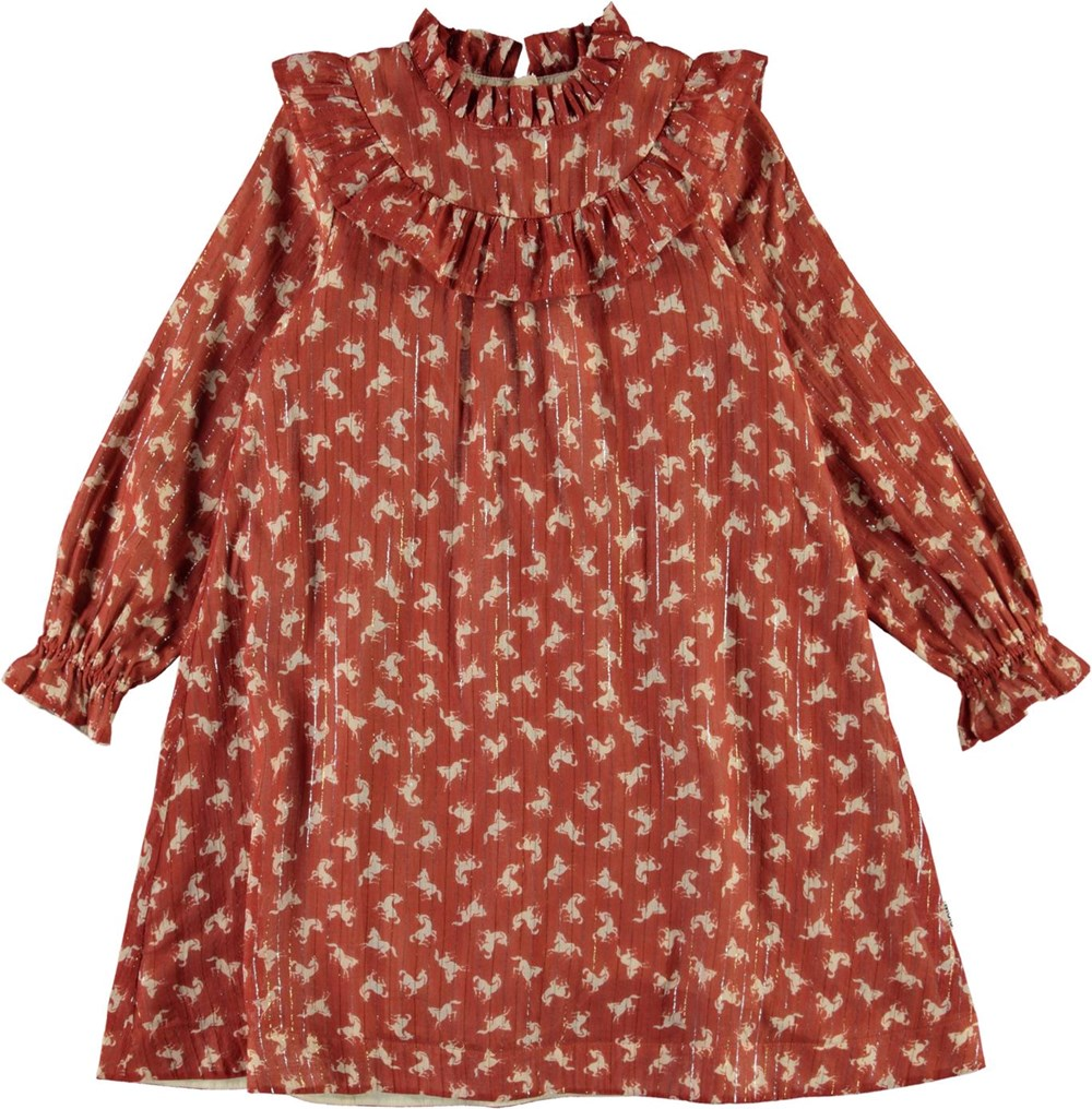 Clair - Mini Horse Woven - Brown dress with horses, glitter and a ruffle collar
