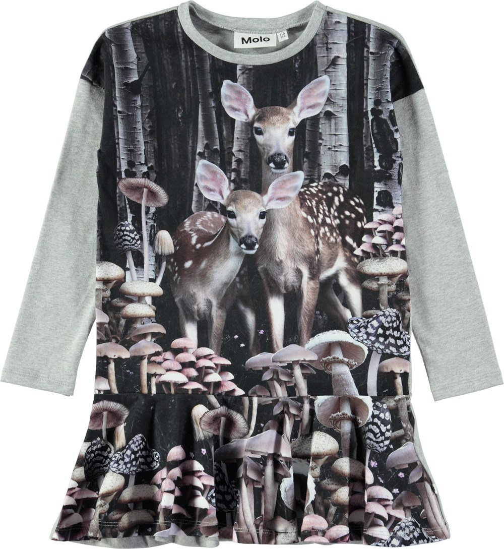 Claire - Amongst The Trees - Long sleeve grey dress with digital deer print