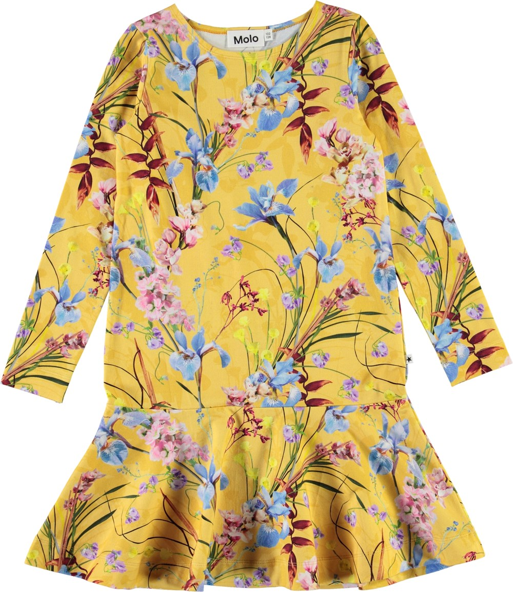 Clare - The Art Of Flowers - Yellow organic dress with floral print