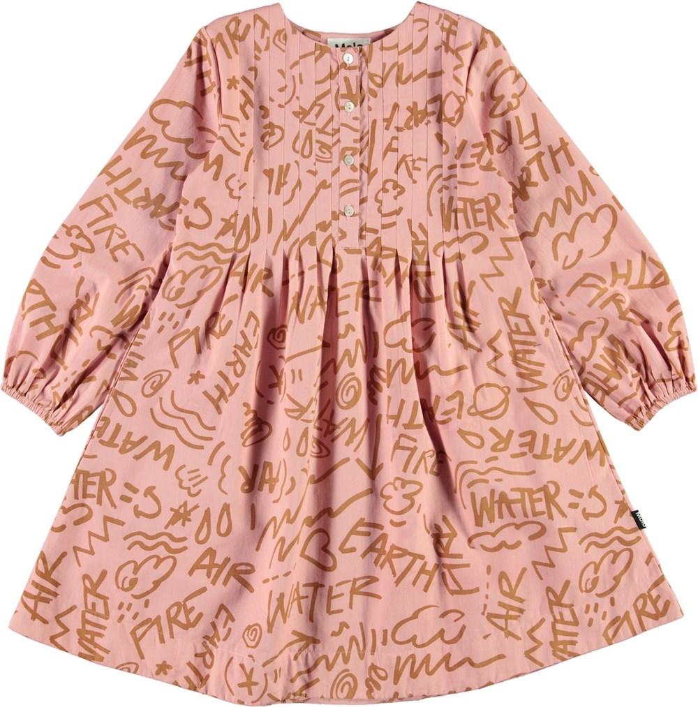 Claribel - Rose Elements - Pink shirt dress with brown symbols