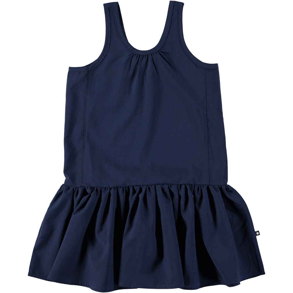 Clary - Classic Navy - Dark blue, sleeveless dress with skirt