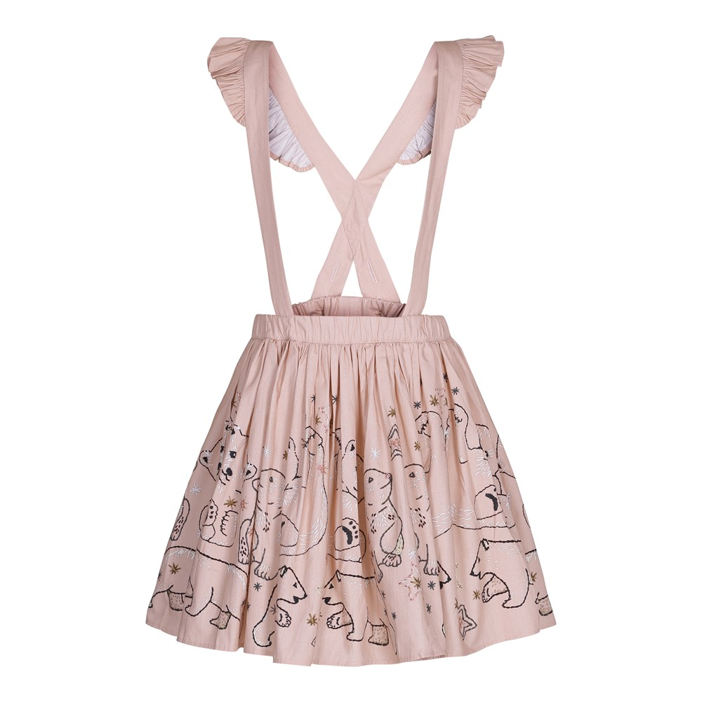 Clover - Playing Polar Bears - Rose coloured poplin pinafore dress with digital embroidery print