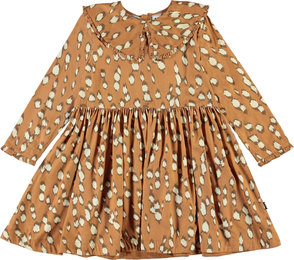 Coco - Graphic Deer - Beige dress with white spots and collar
