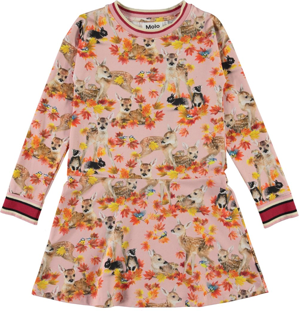 Conny - Autumn Fawns - Pink organic dress with deer