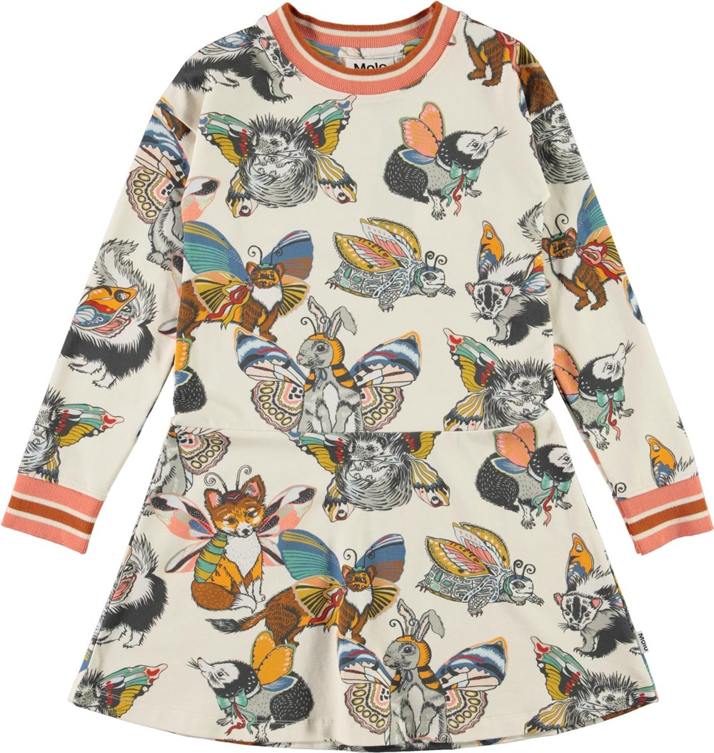 Conny - Hedgerow Buzz - Organic dress with animals with wings