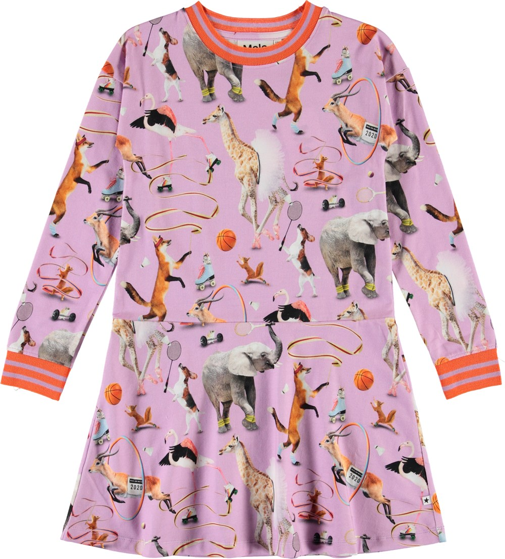 Conny - Made For Motion - Purple organic dress with animals