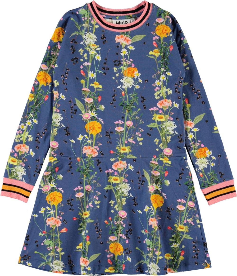 Conny - Vertical Flowers - Blue organic dress with flowers