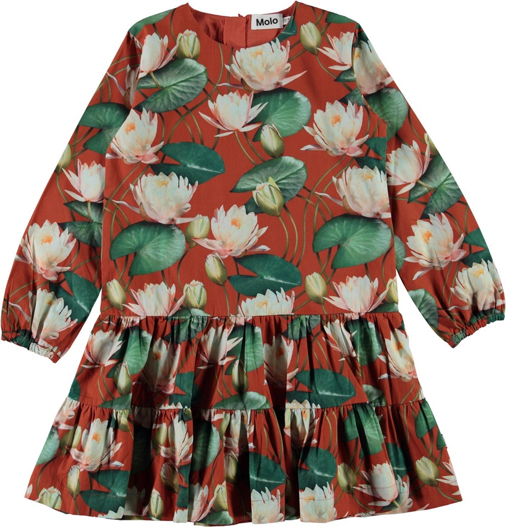 Cora - Autumn Lilies - Brown organic dress with water lily print