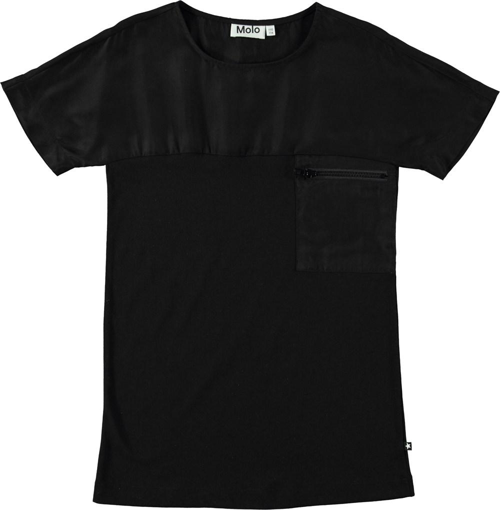 Corinne - Black - Short sleeve black dress