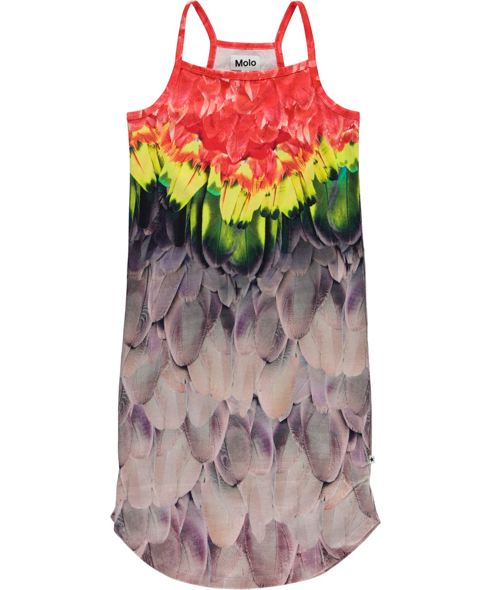 Cortney - Amazon Parrots - Dress with straps and feather print