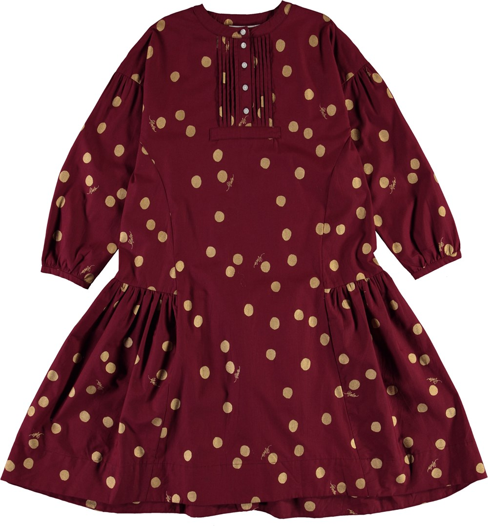 Cosimo - Gold Dots - Bordeaux organic dress with gold polka dots