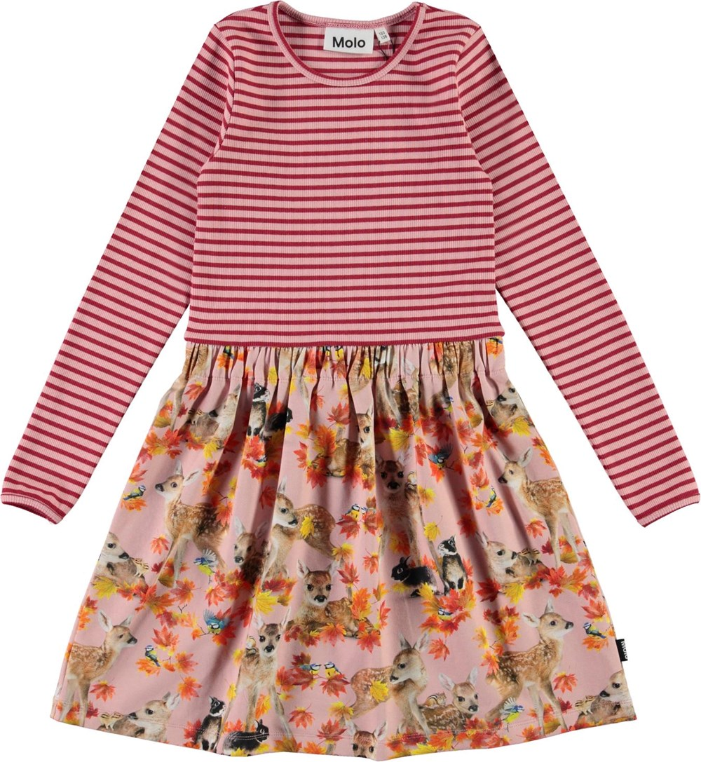 Credence - Autumn Fawns - Pink organic dress with deer and rabbits
