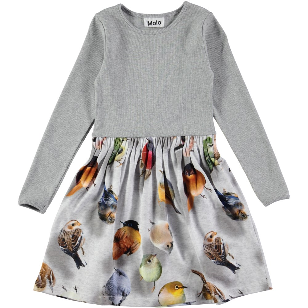 Credence - Bouncing Birds - long sleeve grey dress with birds