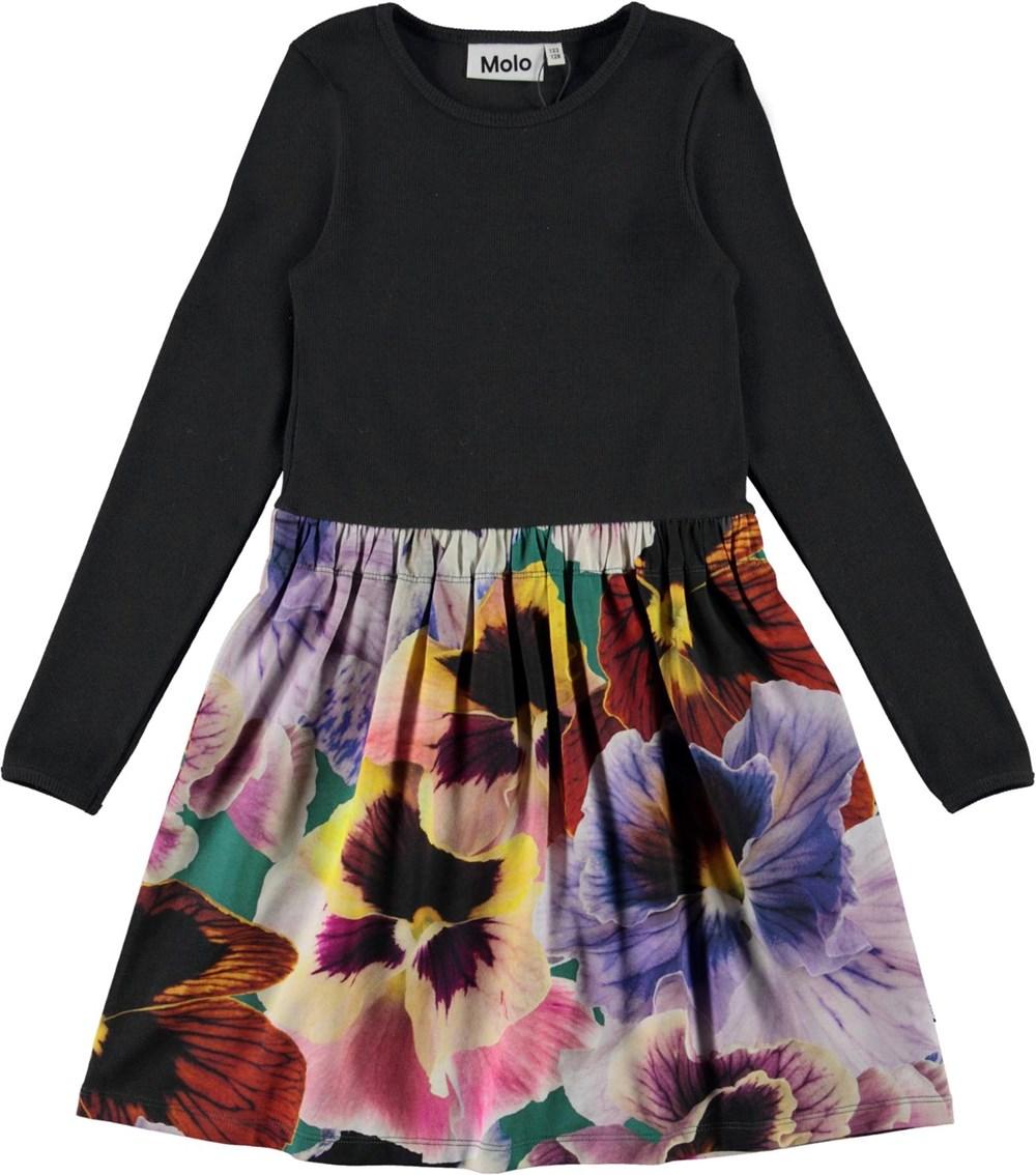 Credence - Velvet Floral - Black organic dress with floral print