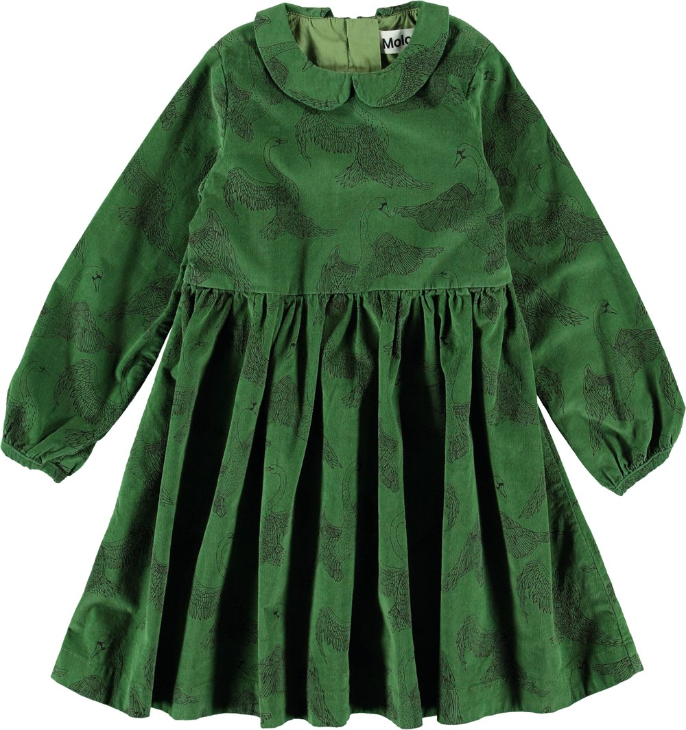 Cybilla - Swan Dance - Green corduroy dress with swans.