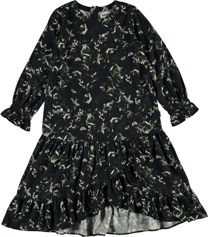 Cyrus - Moonlight Garden - Dark floral dress with ruffle