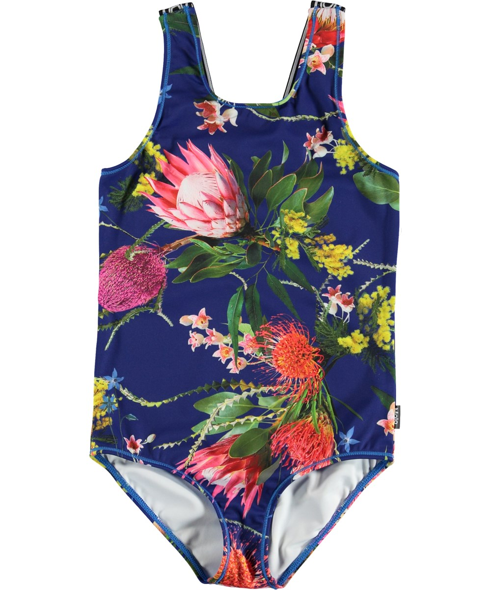 Orchid - Wild Flowers - Floral sports bodysuit in blue