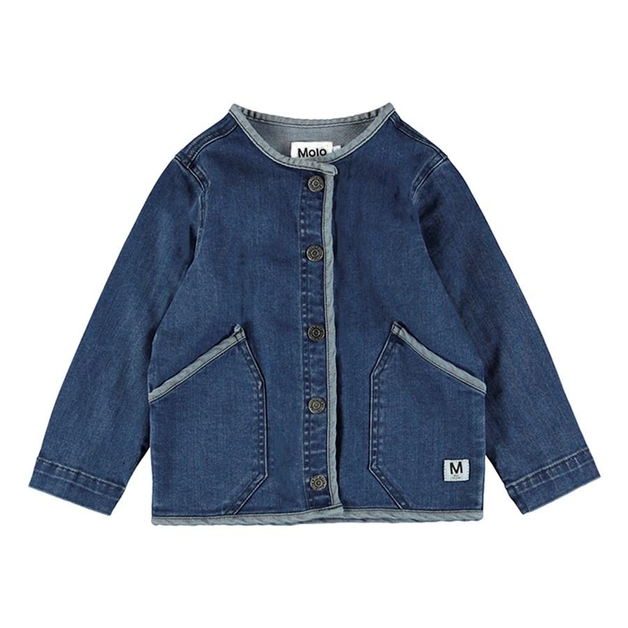 Hannie - Collage Denim - Feminine blue denim jacket with ruffles