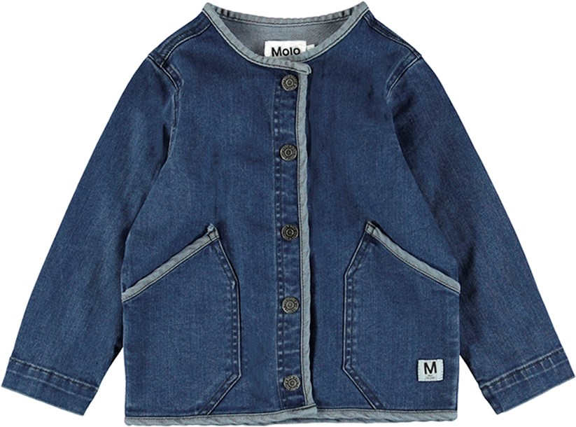 Hannie - Collage Denim - Feminine blue denim jacket with ruffles