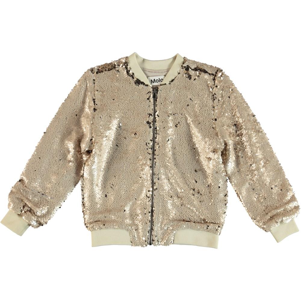 Hansine - Dirty White - Gold sequined bomber jacket.