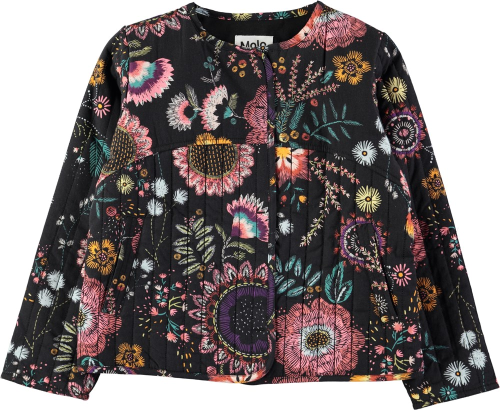 Hasina - Floral Embroidery - Quilted jacket with embroidered flower print