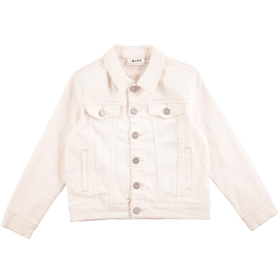 Hattie - White Star - White denim jacket with buttons