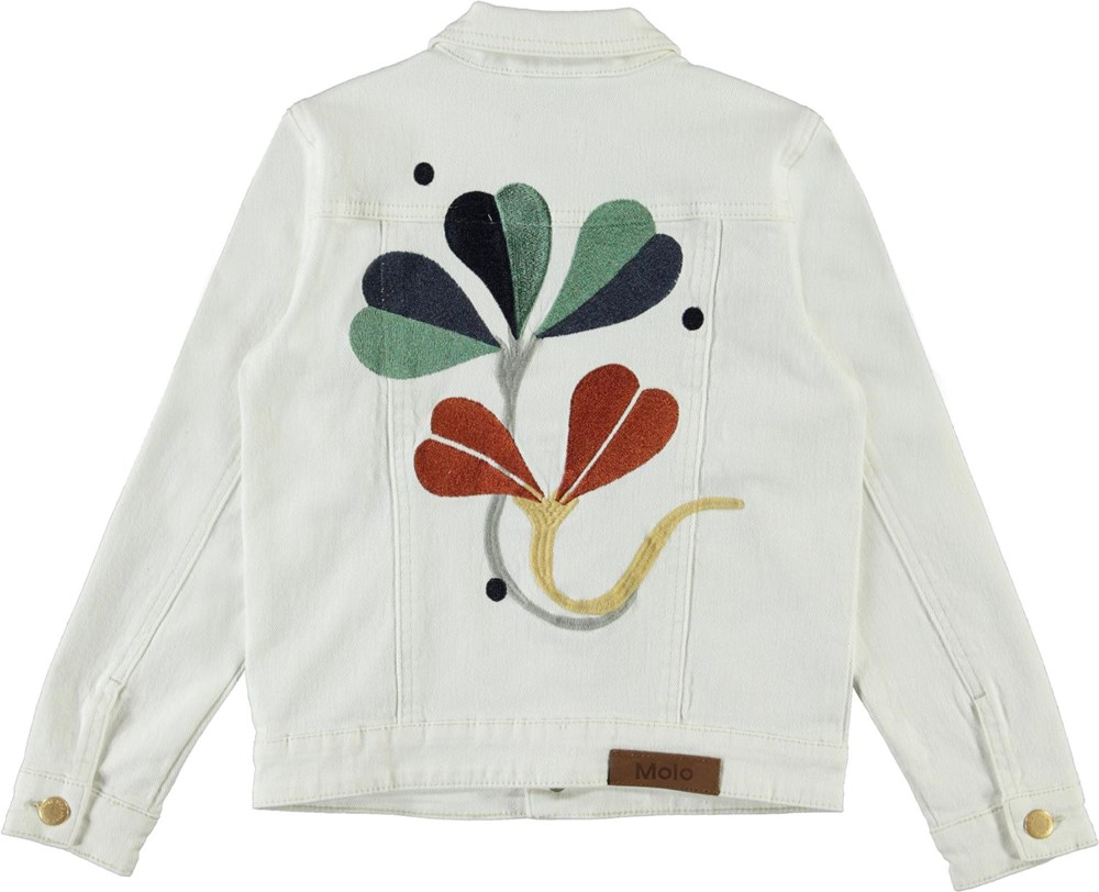 Hattie - White Star - White denim jacet with embroidery on the back