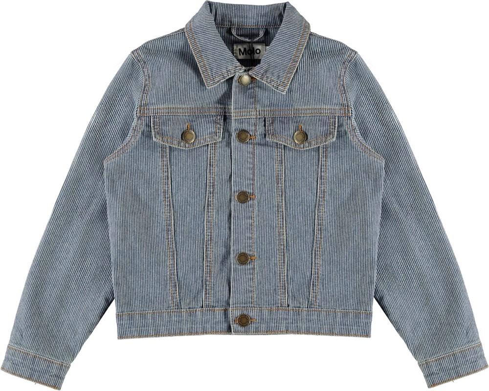 Heidi - Fine Milkboy Stripe - Blue and white striped denim jacket