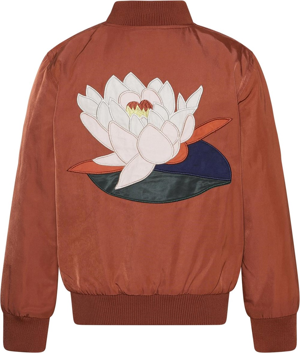 Helena - Burnt Brick - Brown bomber jacket with embroidered water lily on the back