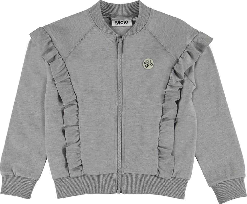 Herdis - Grey Melange - Grey bomber jacket with ruffle edge.