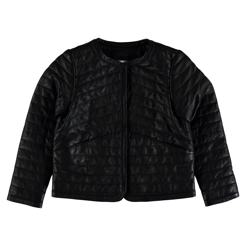 Hettie - Black - Quilted leather jacket.