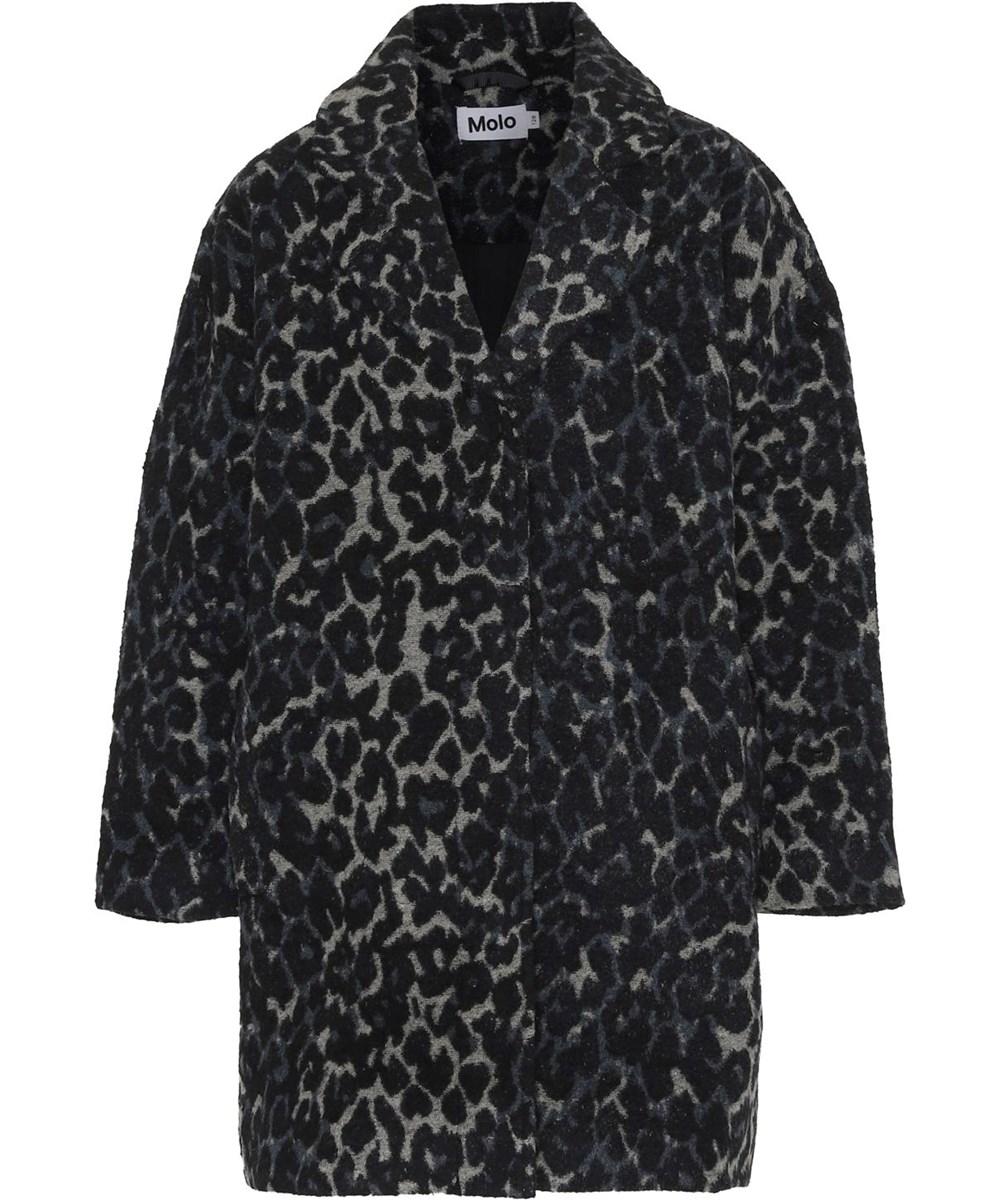 Holla - Blue Leorard - Leopard wool coat