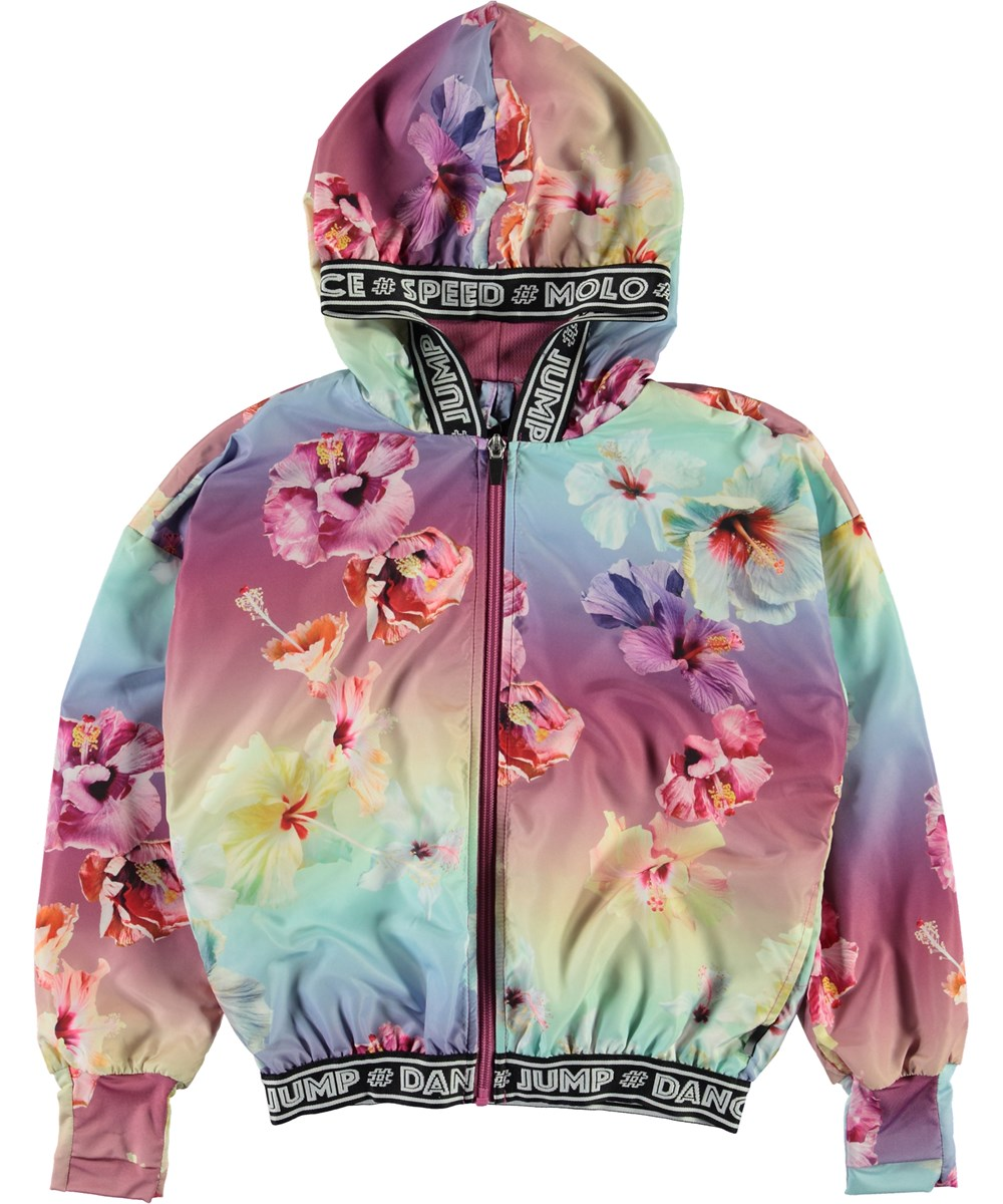 Ophelia - Hibiscus Rainbow - Floral sports jacket with text