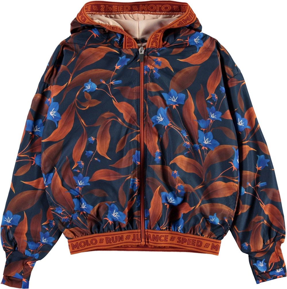 Ophelia - Night Bloom_Big - Sports jacket with brown and blue flowers