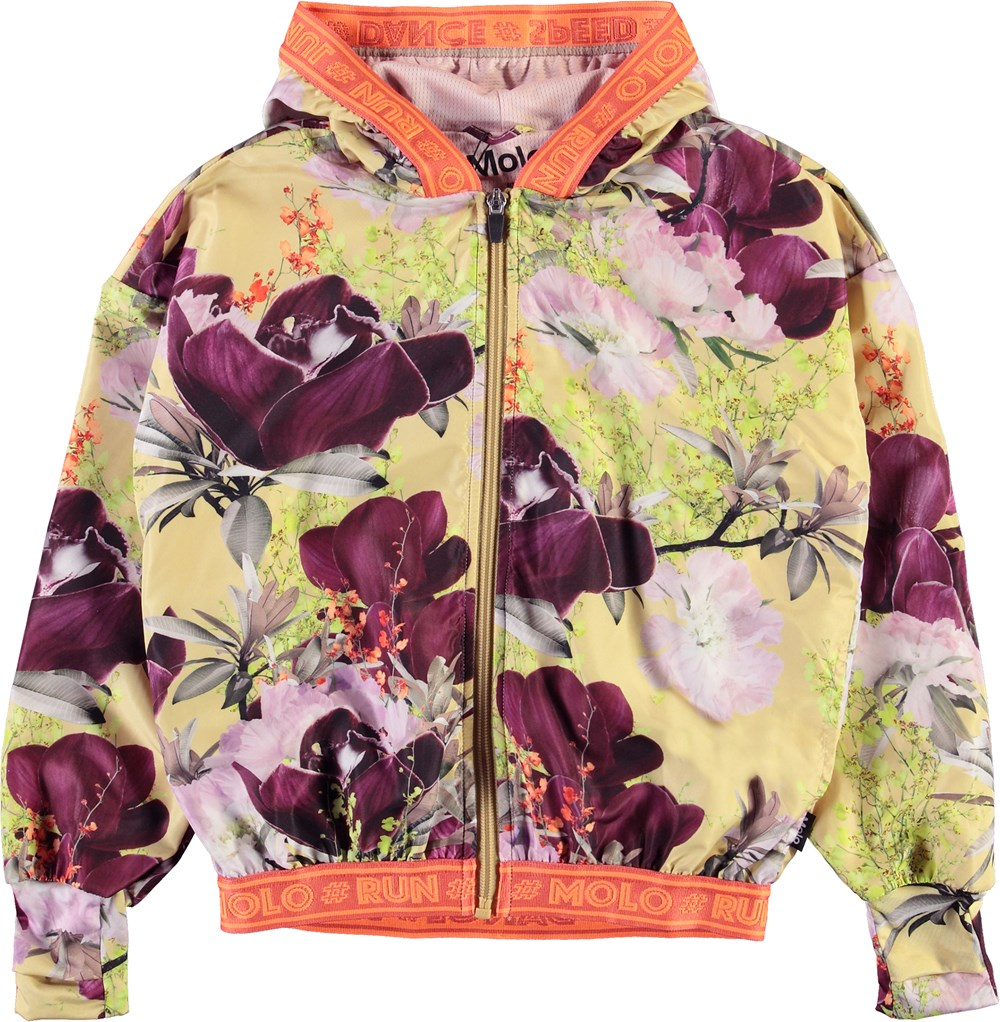 Ophelia - Orchid - Light yellow sports jacket with floral print