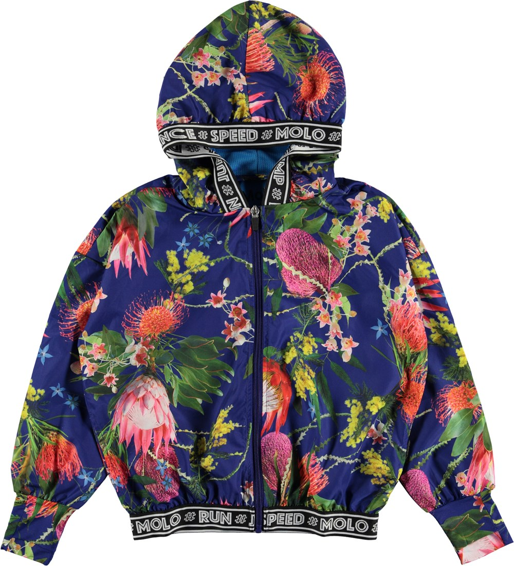Ophelia - Wild Flowers - Blue floral sports jacket with hood