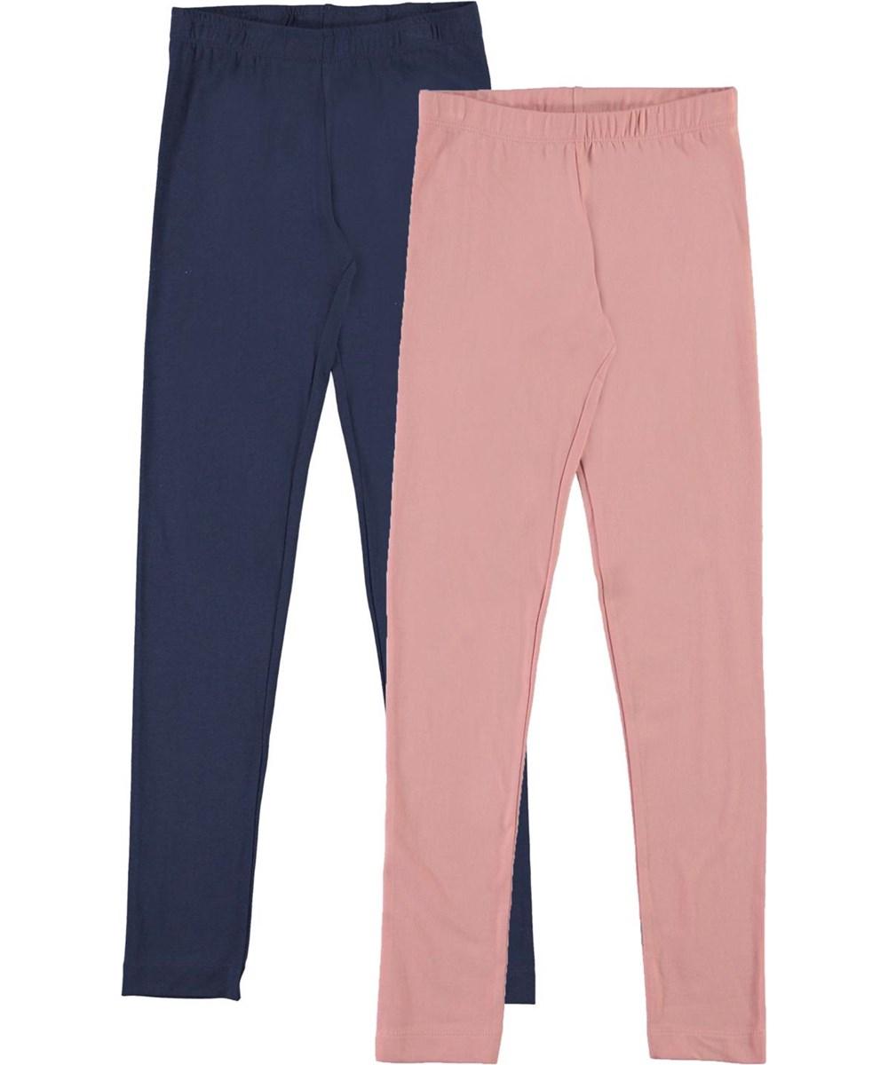 Nica 2-Pack - Peacoat Rose - Organic 2-pack leggings blue pink
